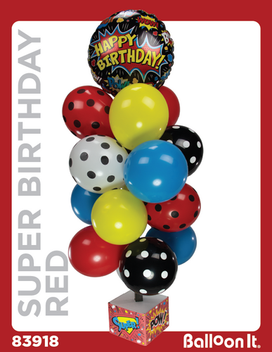 Super Birthday, Red Balloon It Bunch. All-in-one complete DIY Kit (1) - Balloon It