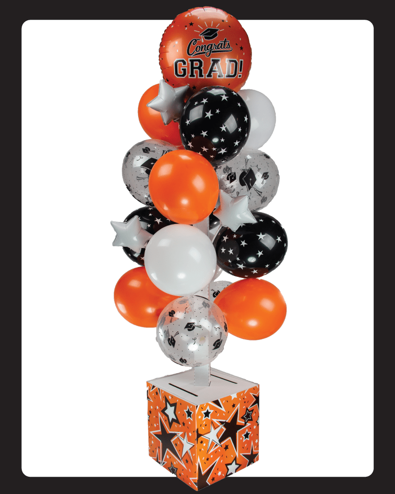 Orange and Black Graduation Card Box Bunch. All-In-One Complete DIY Kit.