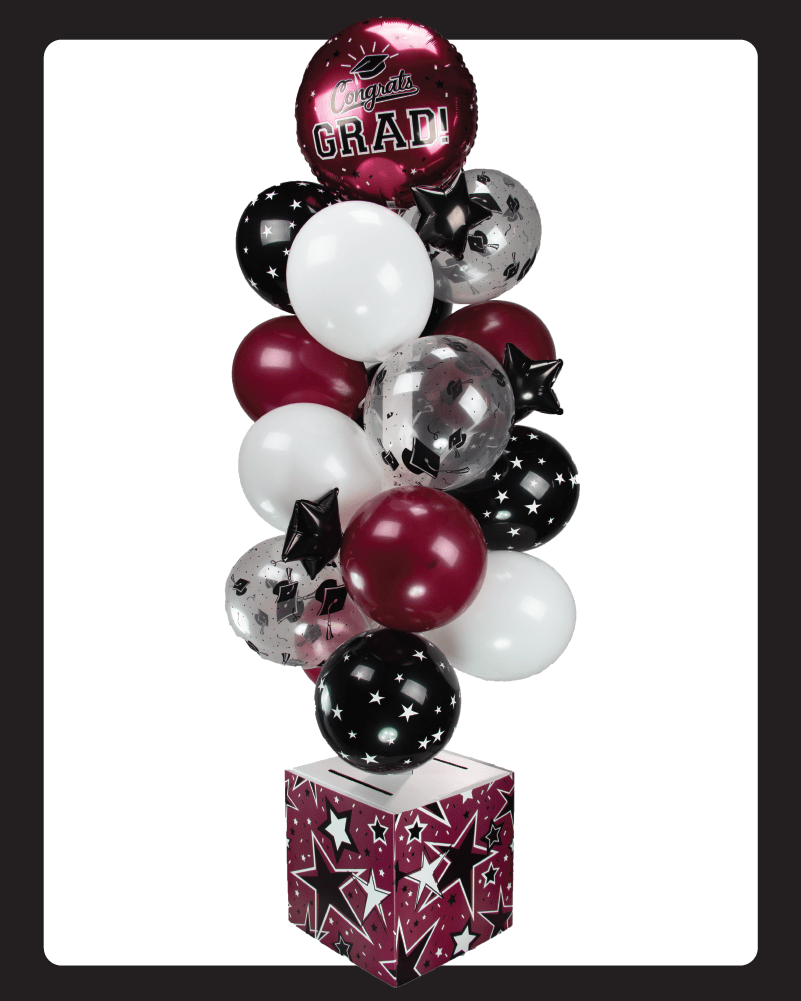 Burgundy and Black Graduation Card Box Bunch. All-In-One Complete DIY Kit.