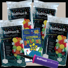 Load image into Gallery viewer, Balloon It Yourself! Party 4-Pack Balloon Stand Decorations. Complete DIY Kit. Includes Dual Action Air Pump. - Balloon It