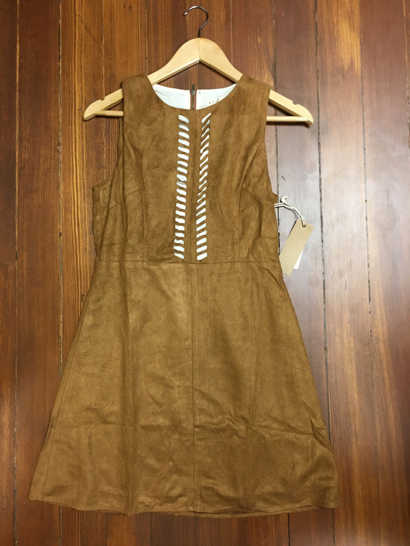 Camel Suede Laser Cut Dress
