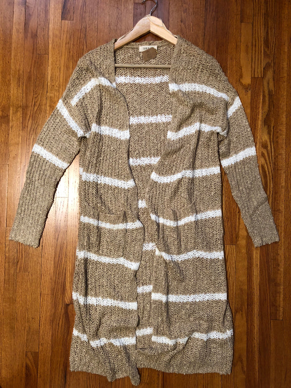 Leslie Taupe Striped Cardigan