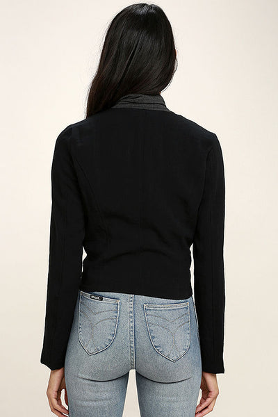 Black Zipper Detail Jacket