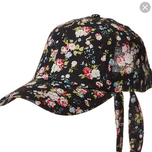Floral Baseball Cap with Tie Back Bow