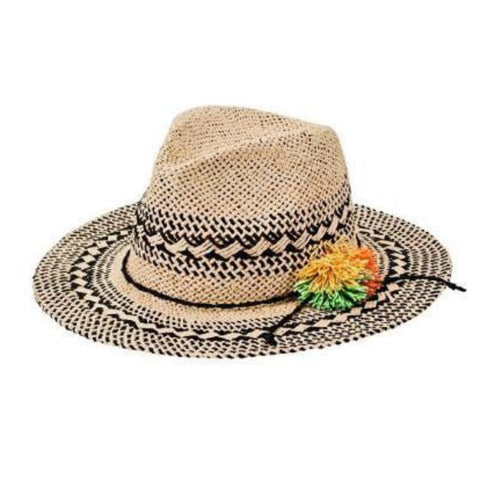 Woven Pattern Fedora With Pom Trim