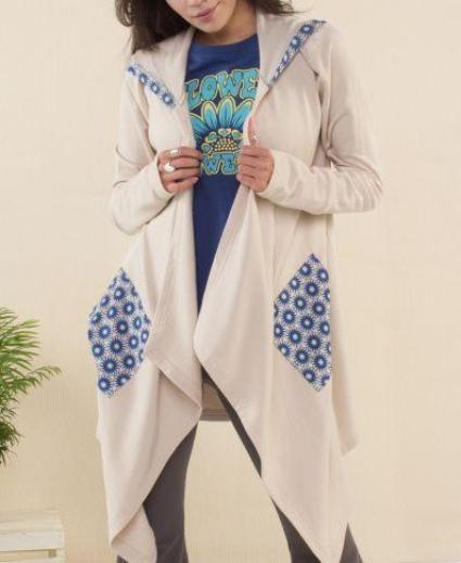 Funky Flowers Hooded Fleece Cardigan