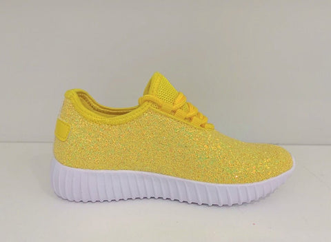 Kids Neon Yellow Glitter Athletics