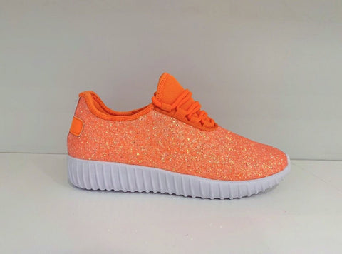 Kids Neon Orange Glitter Athletics