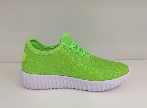 Kids Neon Green Glitter Athletics