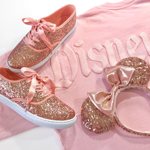Rose Gold Retro Glitter Sneakers
