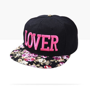 Fabric flowers LOVER snap back hats