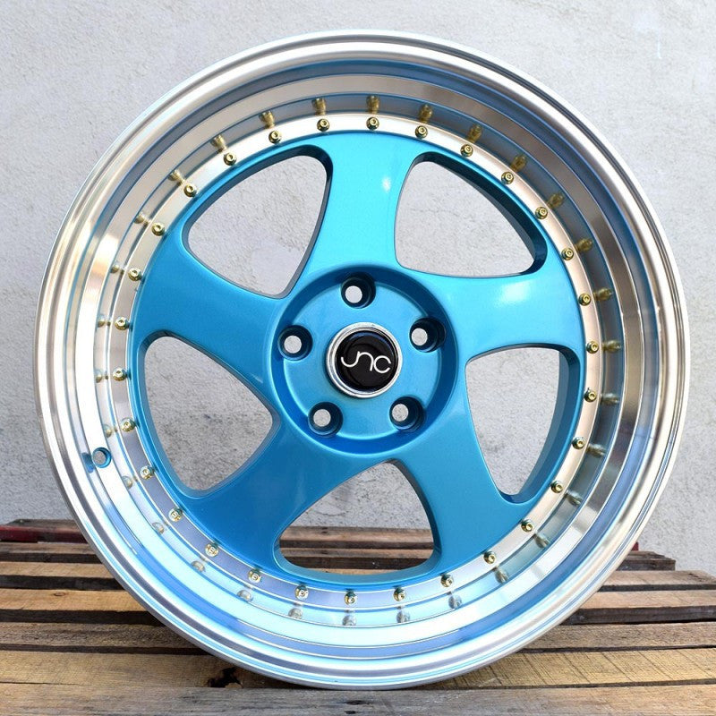 JNC Wheels 034 Teal Blue Machine Lip.