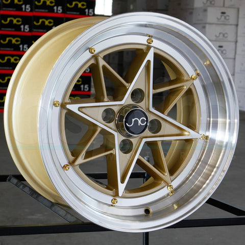 JNC Wheels 025 Gold Machine Face.
