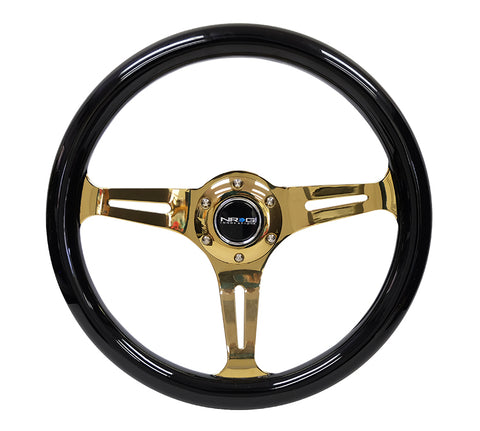 NRG Innovations Gold Edition Wood Steering Wheel