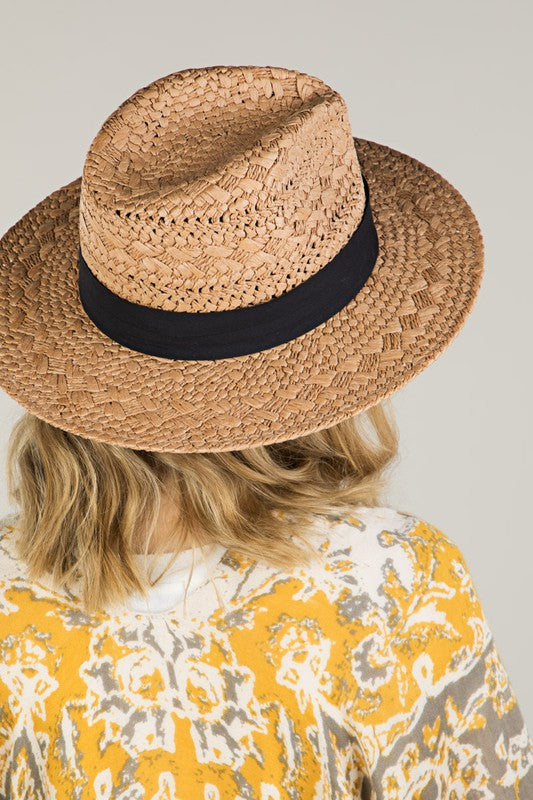 Tan Panama Weave Hat - Cinderella Ranch Boutique