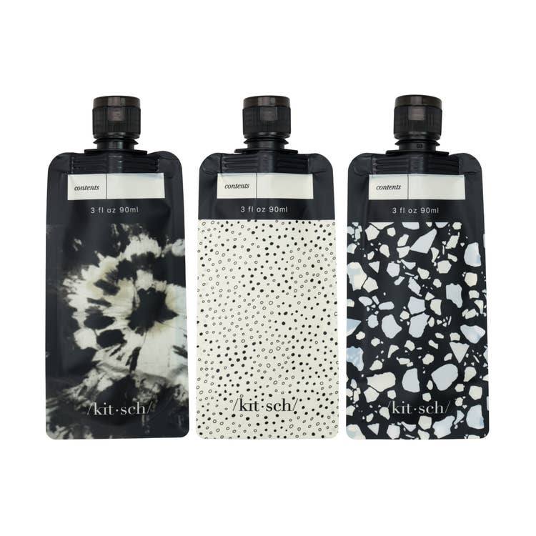 Kitsch Black/Ivory Refillable Travel Pouches - Cinderella Ranch Boutique
