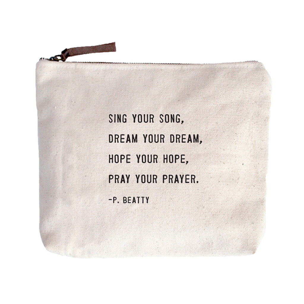Canvas Zip Bag | Sing Your Song - Cinderella Ranch Boutique