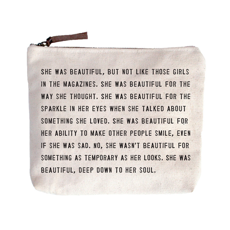Canvas Zip Bag | She Was Beautiful - Cinderella Ranch Boutique