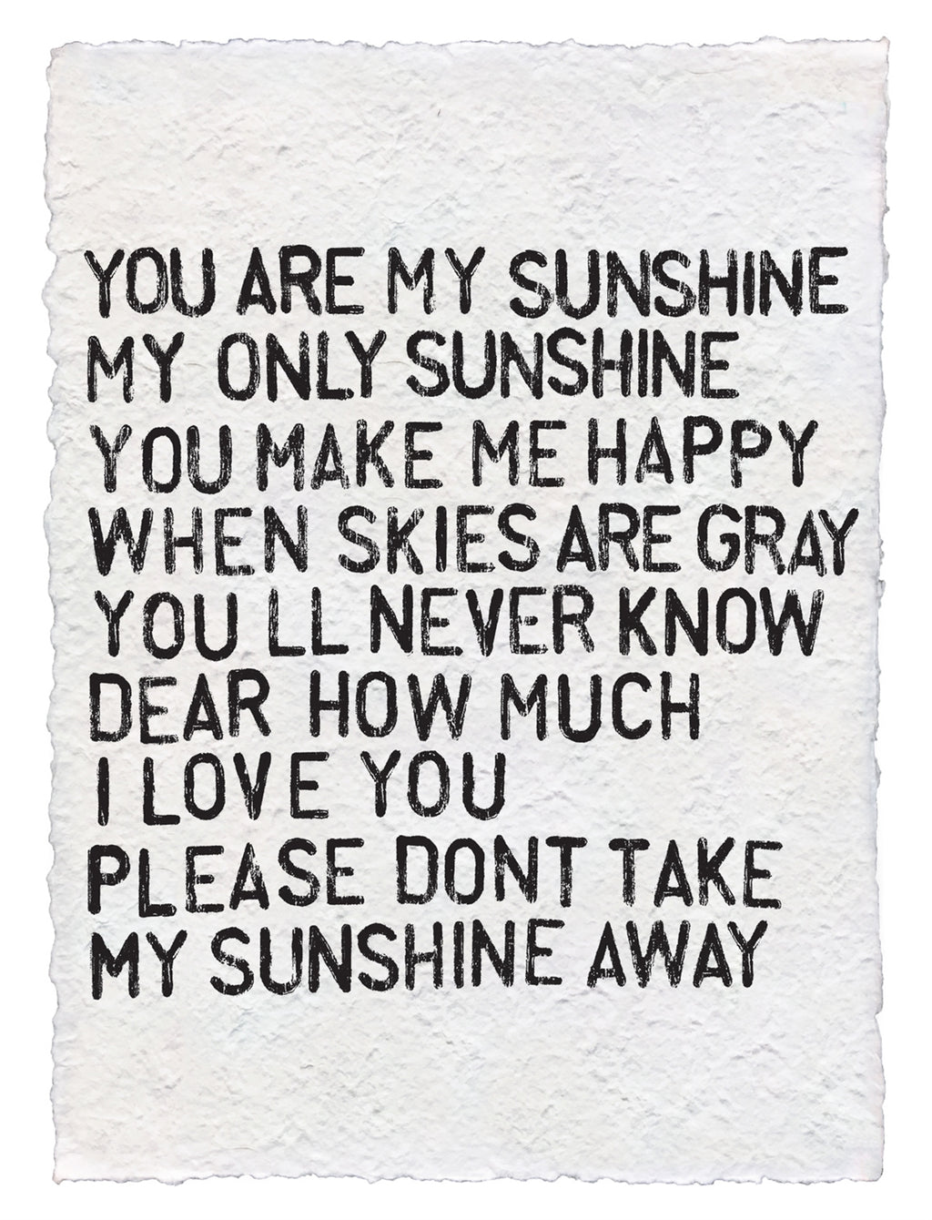 Handmade Paper Print | You Are My Sunshine - Cinderella Ranch Boutique