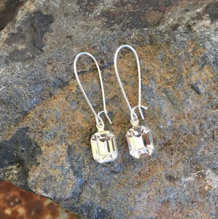 Clear Drop Crystal Earrings - Cinderella Ranch Boutique