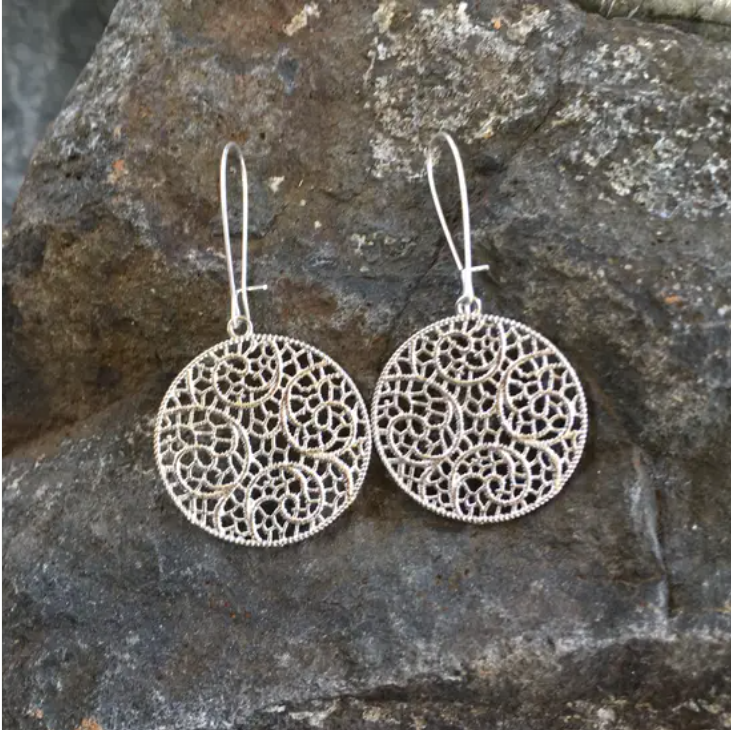 Filigree Lace Circle Earrings - Cinderella Ranch Boutique