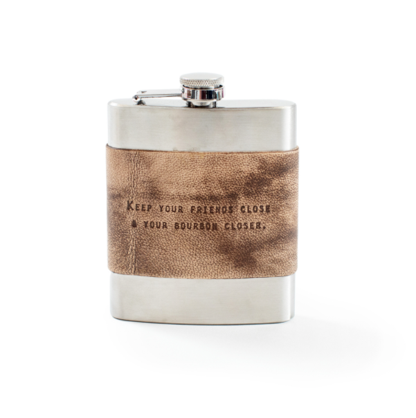 Leather Quote Metal Flask - Cinderella Ranch Boutique