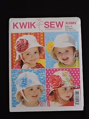 Kwik Sew Baby & Toddlers Summer Hats Chin Straps K3989 Sun Protection Beach