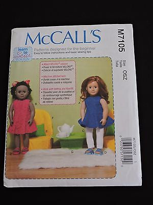 "McCall's Sewing Pattern designed for Beginner Learn to Sew 18"" Doll Clothes M710"