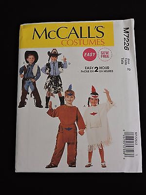 McCalls Costumes Sewing Pattern M7226 Easy Sew 2 Hours Kids Western Cowboy Sz 2