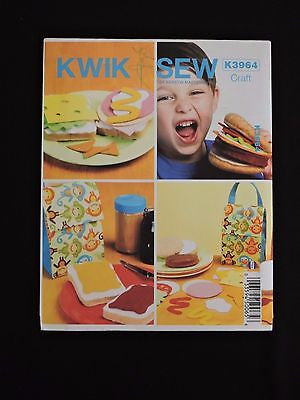 Kwik Sew K3964 Play Food & Lunch Bag Sewing Pattern Pretend Sandwich Craft