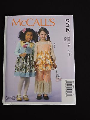 McCall's Sewing Pattern M7183 Girls Layered Bohemian Top Jumpers Pants CL 6 7 8