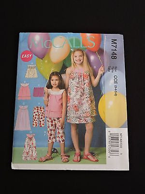 McCall's Easy Sewing Pattern M7148 Girls Party Summer Tops Dresses Capris CCE