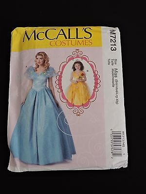 McCall's Costumes Sewing Pattern M7213 Dress Gown Princess Miss S-XL Halloween
