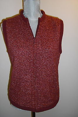 Christopher & Banks Deep Red Maroon Fall Winter Vest Size Small Women Casual