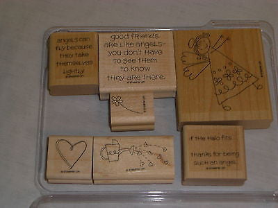 Stampin' Up IF THE HALO FITS Set 7 Angel Theme Good Friends Watering Can Hearts