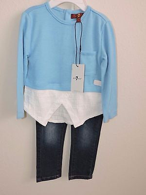 7 For All Mankind Jeans Sweater Top Outfit 2 Piece Electric Blue Baby Girl NWT