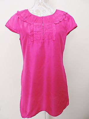 C. Orrico Palm Beach Blouse Silk Pink Shirt Top Medium Spring Summer EUC Light