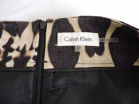 Calvin Klein Animal Print Skirt 20W Career Brown Tan Pencil Straight Knee Length