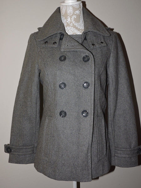 Calvin Klein Coat Gray Sz 6 Wool Blend Hooded Peacoat Women Winter Warm Fashion