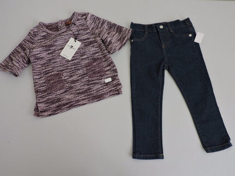 7 For All Mankind Baby Girl Jeans Sweater Set Outfit  24 Months