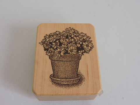 Galerie Vernissage Inkadinkado Rubber Stamp Daisies in Flower Pot Garden Daisy