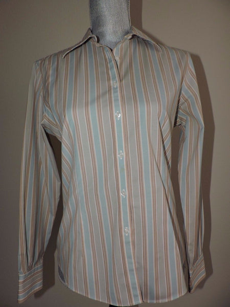 Brooks Brothers Button Down Shirt Fitted Non Iron Stretch Career Striped size 4