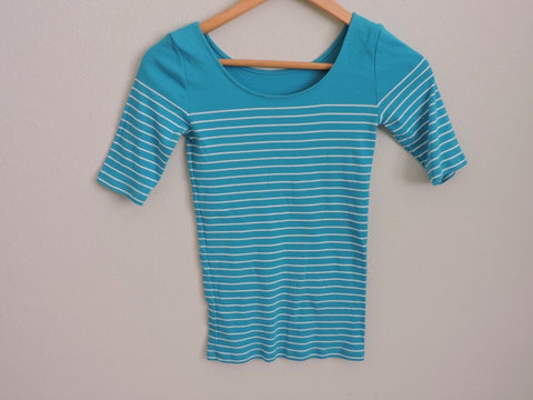 Ann Taylor Shirt Striped White Turquoise Casual Womens XS Cotton Short Sleeves