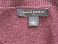 Banana Republic Maroon Burgundy Sweater Button Down 3/4 Sleeve Casual Large Fall