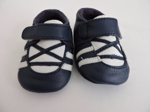 Bum Kids Bronson Infant Shoes 2 Crib Slip On Navy Blue White Soft Baby Boy Fall