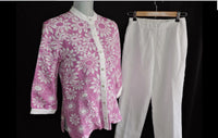 Bob Mackie Wearable Art 2 Piece Pant Set Sz XS Linen Sequin Floral Pearl Buttons