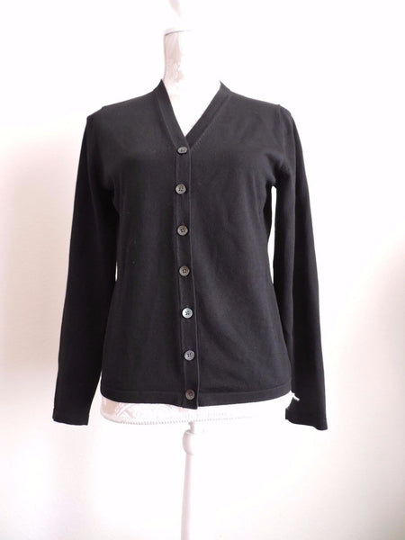 Banana Republic Outlet Solid Black Cardigan Sweater Button Up Large Career Fall