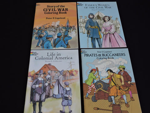 Peter Copeland 4 Coloring Books Lot Colonial America Civil War Pirate Homeschool