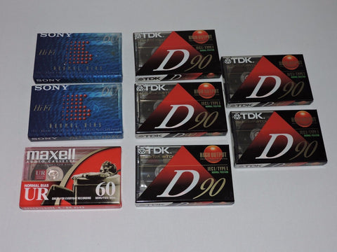 Lot of 8 Blank Cassette Tapes Maxell Sony Hi Fi TDK D90 IECI Type I Record Music