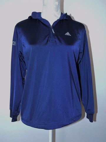 Adidas Jacket Pullover Hooded Athletic Navy Blue Womens M 10 12 Gray 3 Stripe